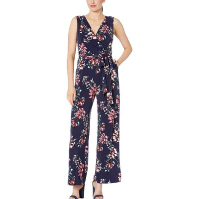 Tahari By Asl - Tahari By Asl Mixed Bouquet Navy Printed Stretch Jersey Floral Jumpsuit