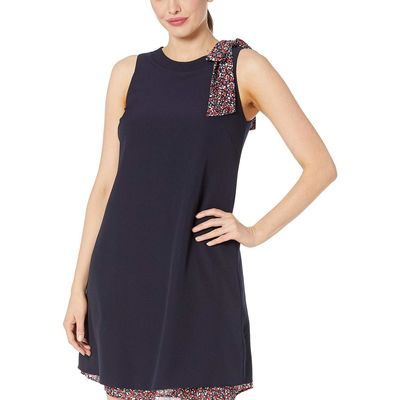 Tahari By Asl - Tahari By Asl Navy Stretch Crepe Shift With Ditsy Floral Shoulder Bow And Hemline