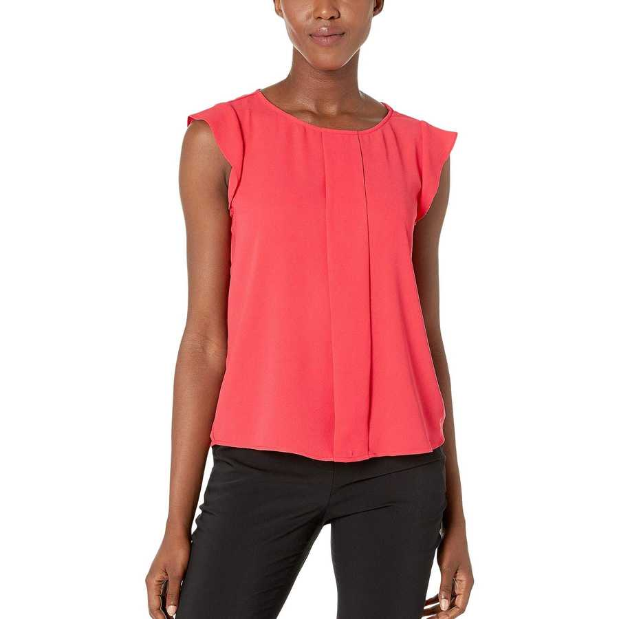 Tahari By Asl New Coral Cap Sleeve Pleated Front Top