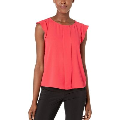Tahari By Asl - Tahari By Asl New Coral Cap Sleeve Pleated Front Top