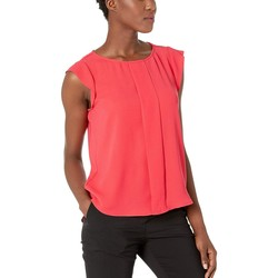 Tahari By Asl New Coral Cap Sleeve Pleated Front Top - Thumbnail