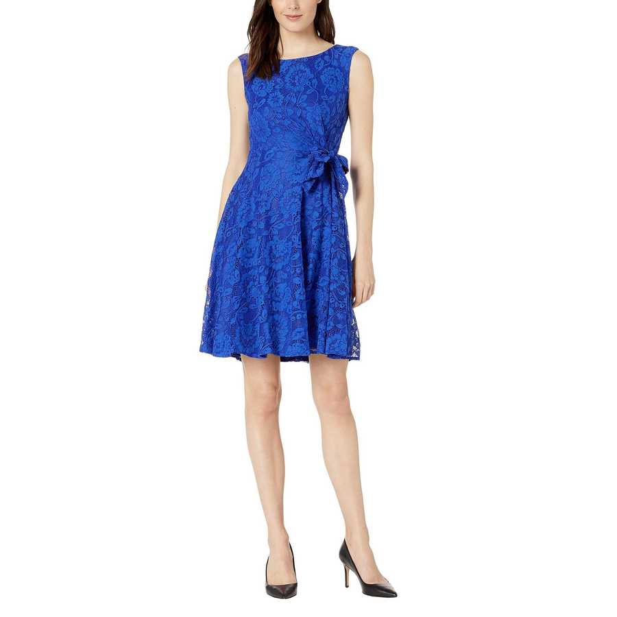 Tahari By Asl Royal Stretch Lace Fit & Flare Dress