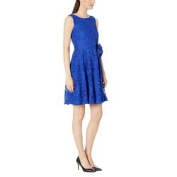 Tahari By Asl Royal Stretch Lace Fit & Flare Dress - Thumbnail