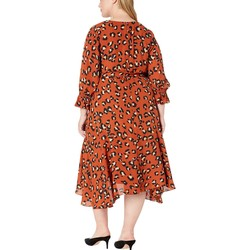 Tahari By Asl Spiced Leopard Plus Size Handkerchief Hem Surplus Dress - Thumbnail