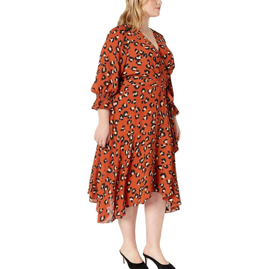 Tahari By Asl Spiced Leopard Plus Size Handkerchief Hem Surplus Dress