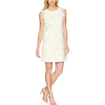 Tahari By Asl - Tahari By Asl White/Lemon Ruffle Sleeve Novelty Sheath Dress