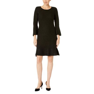 Taylor - Taylor Black Metallic Bell Sleeve Shift Sweater Dress