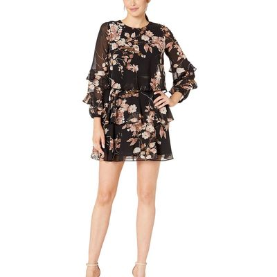 Taylor - Taylor Black/Blush Long Sleeve Floral Ruffle Tiered Dress