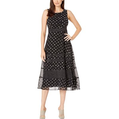 Taylor - Taylor Black/Nude Sleeveless Abstract Dot Print Midi Dress