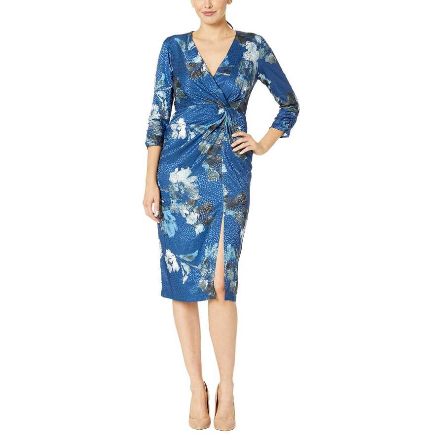 Taylor Blue Ruched Elbow Sleeve Faux Wrap Side Knot Midi Dress