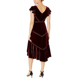 Taylor Burgundy Ruffle Sleeve Velvet High-Low Dress - Thumbnail
