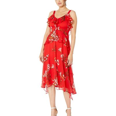 Taylor - Taylor Cherry Sleeveless Mini Floral Printed Midi Dress