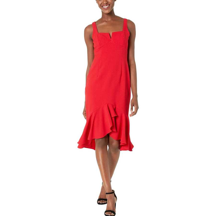 Taylor Claret Red Sleeveless Ruffle Hem Cocktail Dress