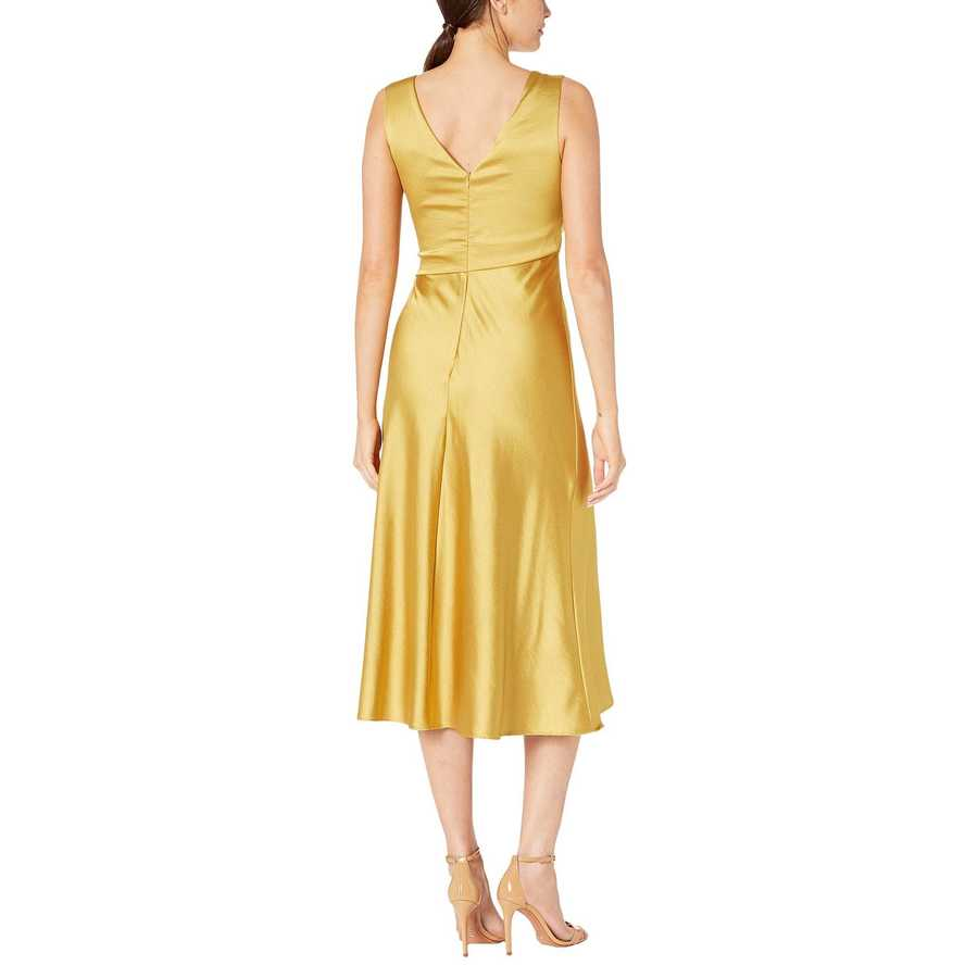 Taylor Gold Sleeveless Asymmetrical Neckline Satin Dress