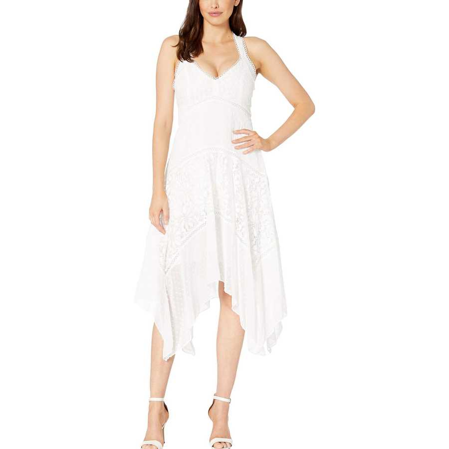Taylor Ivory Halter Neck Clipdot And Lace Handkerchief Hem Dress