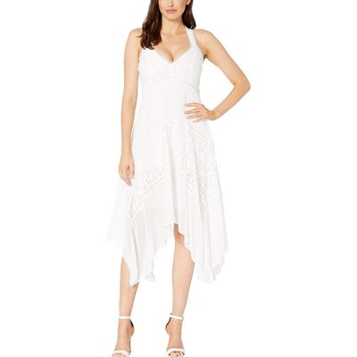 Taylor - Taylor Ivory Halter Neck Clipdot And Lace Handkerchief Hem Dress