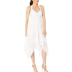Taylor Ivory Halter Neck Clipdot And Lace Handkerchief Hem Dress - Thumbnail