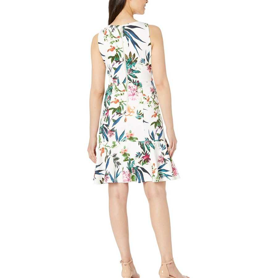 Taylor Ivory Multi Sleeveless Floral Flounce Skirt Dress