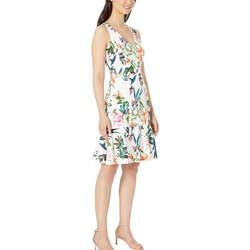 Taylor Ivory Multi Sleeveless Floral Flounce Skirt Dress - Thumbnail
