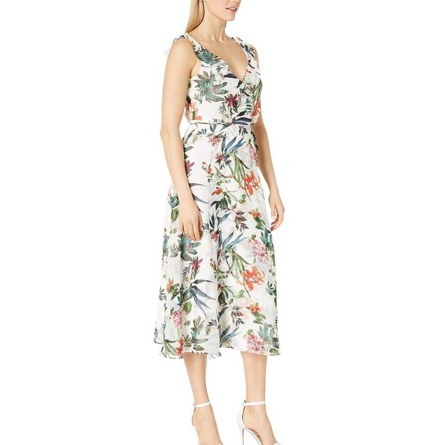 Taylor Ivory Multi Sleeveless Ruffle Neck Wrap Maxi Dress