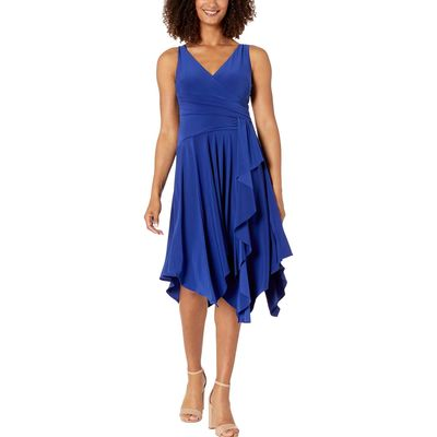Taylor - Taylor Midnight Blue Sleeveless Cross Front Dress