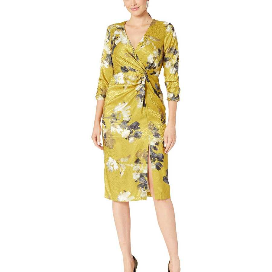 Taylor Mustard Ruched Elbow Sleeve Faux Wrap Side Knot Midi Dress