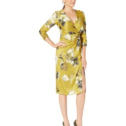 Taylor Mustard Ruched Elbow Sleeve Faux Wrap Side Knot Midi Dress - Thumbnail