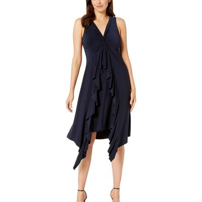 Taylor - Taylor Navy Sleeveless V-Neck Knotted Ruffle Front Dress