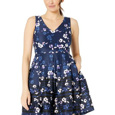 Taylor - Taylor Navy/Blush Sleeveless V-Neck Floral Print Dress