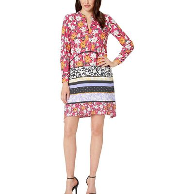Taylor - Taylor Pink Long Sleeve Floral Print Shirtdress