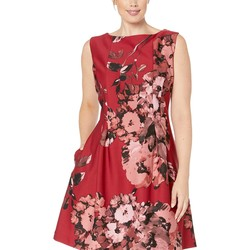 Taylor Red Multi Plus Size Boat Neck Sleeveless Floral Dress - Thumbnail