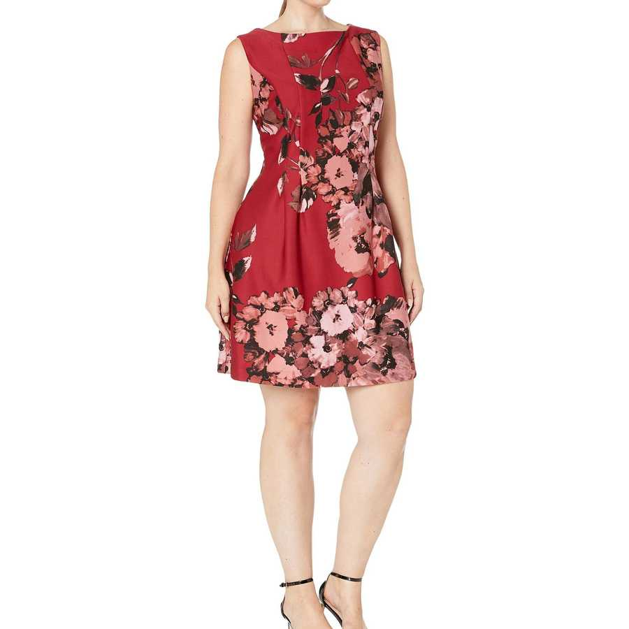 Taylor Red Multi Plus Size Boat Neck Sleeveless Floral Dress