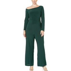 Taylor Spruce Long Sleeve Boat Neck Wide Leg Jumpsuit - Thumbnail