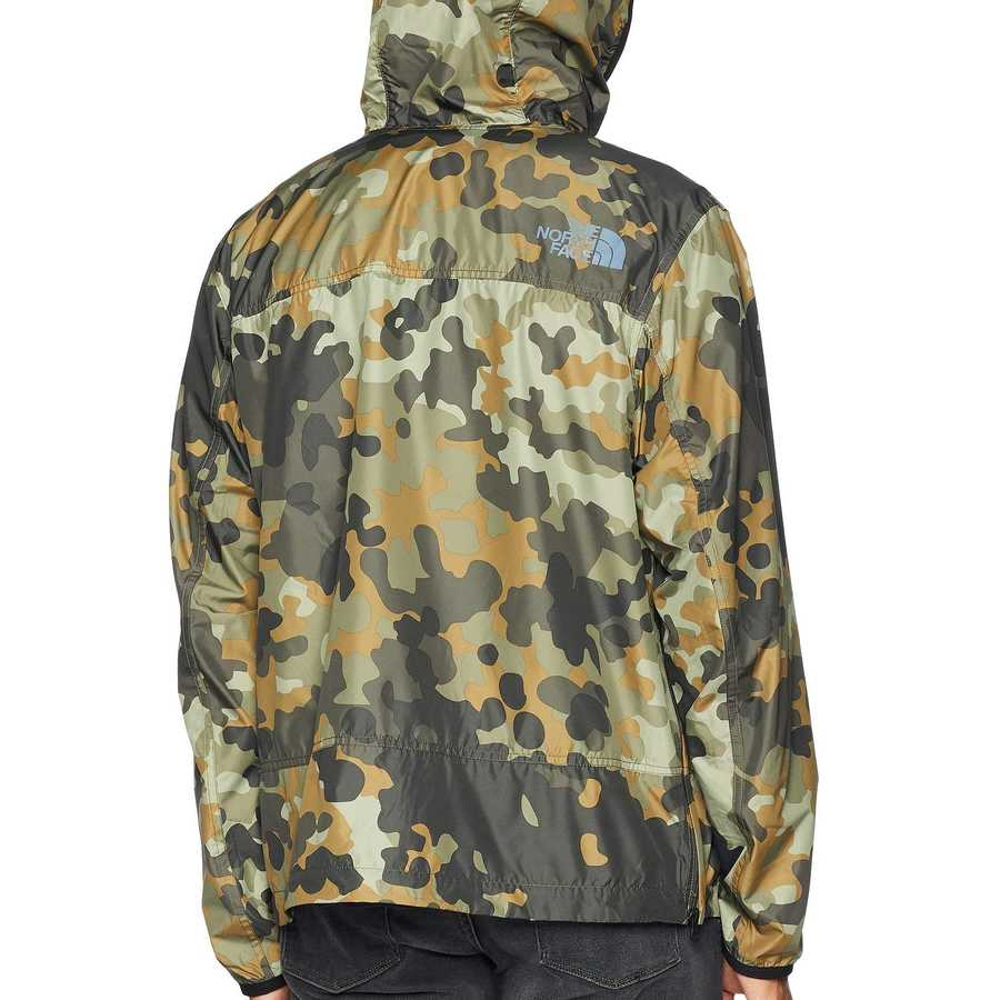 The North Face New Taupe Green Macrofleck Print Crew Run Wind Anorak