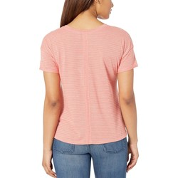 The North Face Spiced Coral Desert Stripe Short Sleeve Emerine Top - Thumbnail