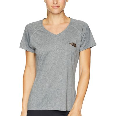 The North Face - The North Face Tnf Medium Grey Heather/Metallic Copper Short Sleeve Reaxion V-Neck Tee