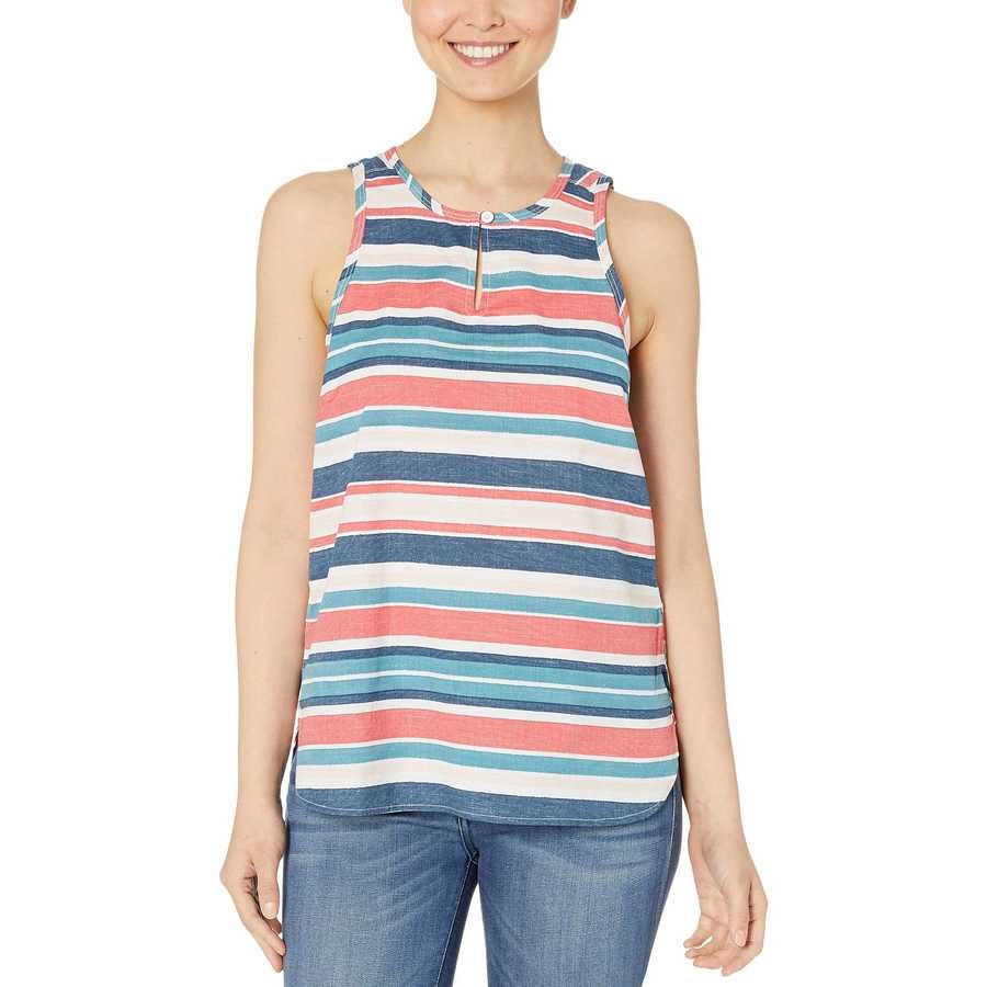 The North Face Tnf White Variegated Stripe Print Sleeveless Bayward Top