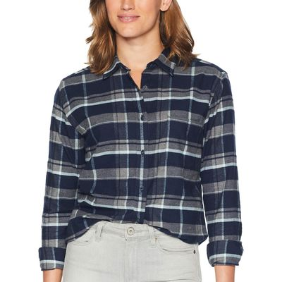 The North Face - The North Face Urban Navy Multi Tartan Plaid Long Sleeve Boyfriend Shirt