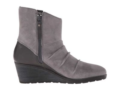 The North Face - The North Face Women's Smoked Pearl Grey/Deep Garnet Red (Prior Season) Bridgeton Wedge Zip Ankle Boots Booties 8711484743925