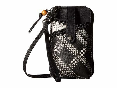 The Sak - The Sak Black/White Floral Plaid İris North/South Smartphone Crossbody Phone Wallet