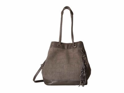 The Sak - The Sak Slate Croco Castella Leather Drawstring Bucket Handbag