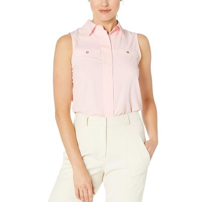 Tommy Hilfiger - Tommy Hilfiger Ballerina Pink Collared Button Front Sleeveless Blouse