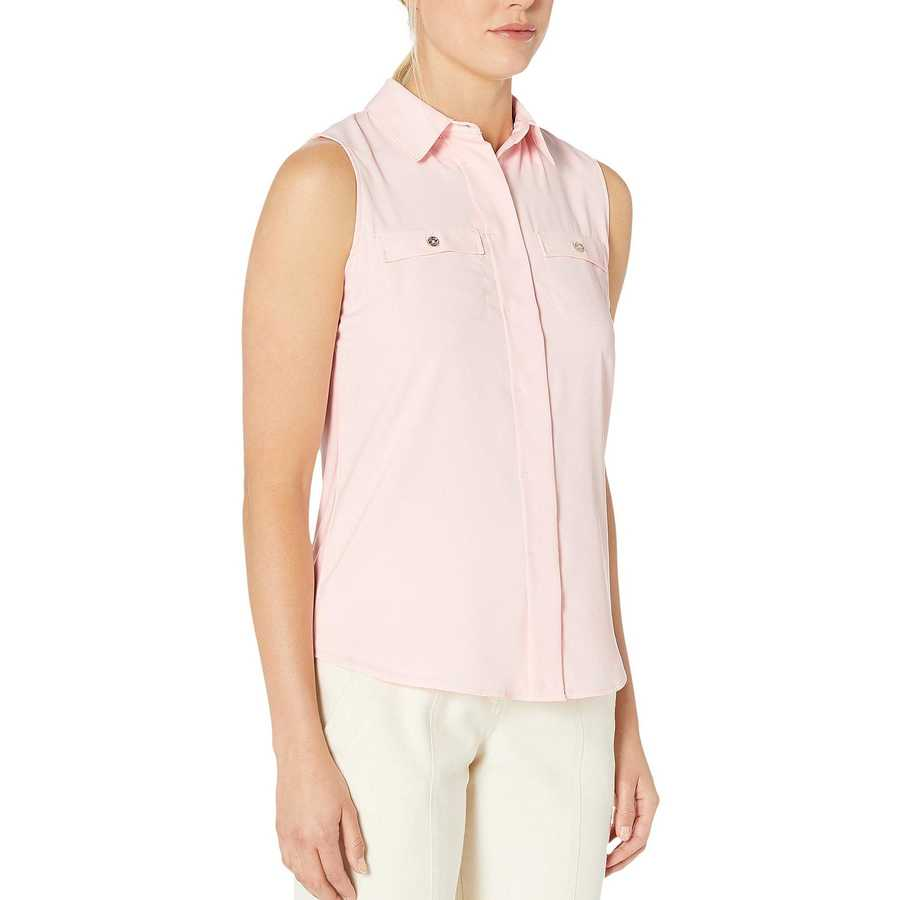 Tommy Hilfiger Ballerina Pink Collared Button Front Sleeveless Blouse