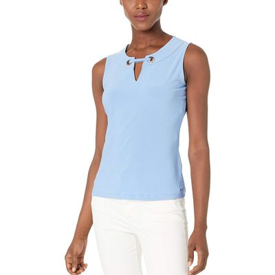 Tommy Hilfiger - Tommy Hilfiger Bay Blue Gromet Knit Top