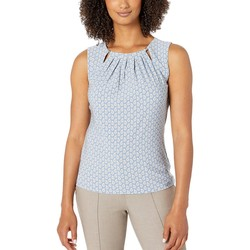 Tommy Hilfiger Bay Blue Multi Paisley Bead Neck Sleeveless Knit Top - Thumbnail