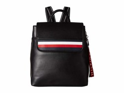 Tommy Hilfiger Black Gianna Smooth Pvc Backpack - Thumbnail