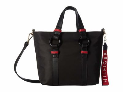 Tommy Hilfiger - Tommy Hilfiger Black Leona Convertible Mini Shopper Tote Handbag