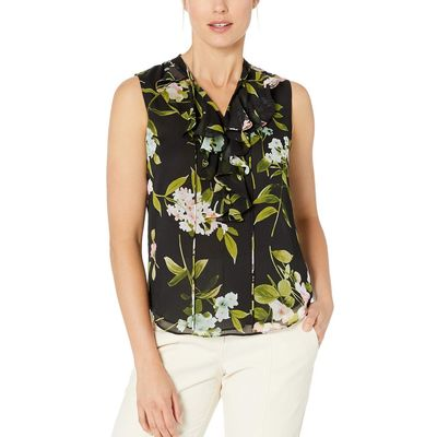 Tommy Hilfiger - Tommy Hilfiger Black/Rose Floral Print Ruffle Front Sleeveless Woven Top