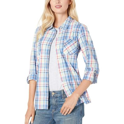 Tommy Hilfiger - Tommy Hilfiger Blue Multi Roll Tab Blouse - Seawater Plaid