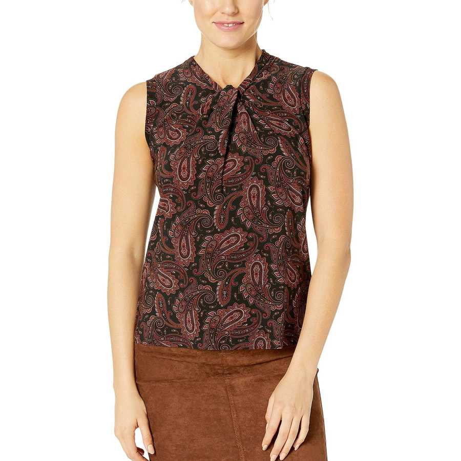 Tommy Hilfiger Cinnamon Multi Printed Knot Neck Knit Top